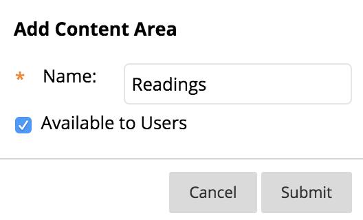 screenshot of adding a content area