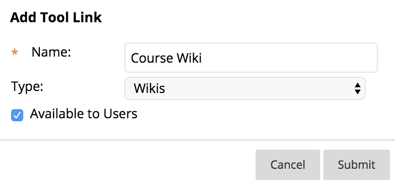 screenshot of adding a tool link