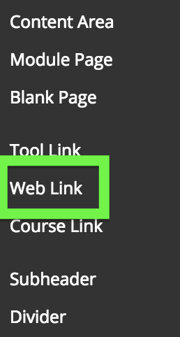screenshot of Web Link link
