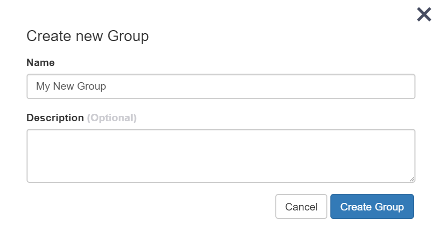 screenshot of creating group name and description