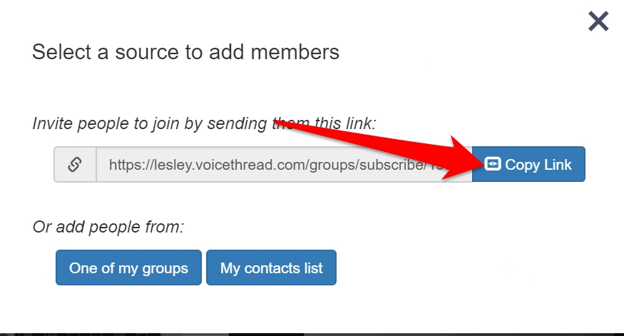 screenshot of selecting VoiceThread group link