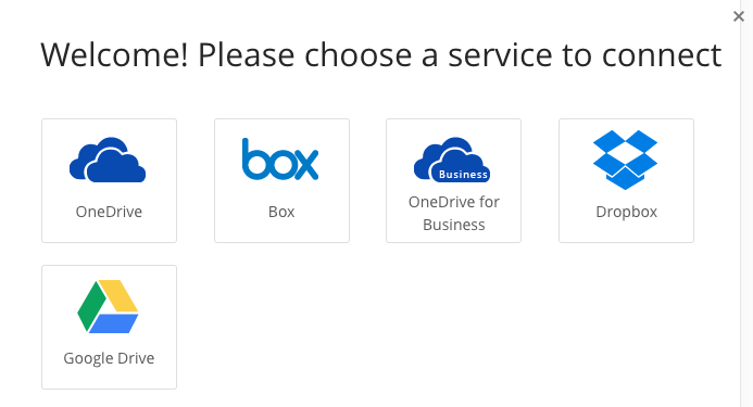 screenshot of cloud storage options: OneDrive, Box, OneDrive for Business, Dropbox, and Google Drive