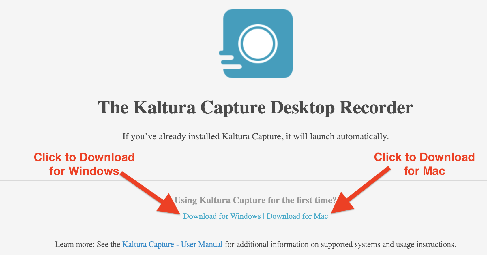screenshot of Kaltura Capture launch page.
