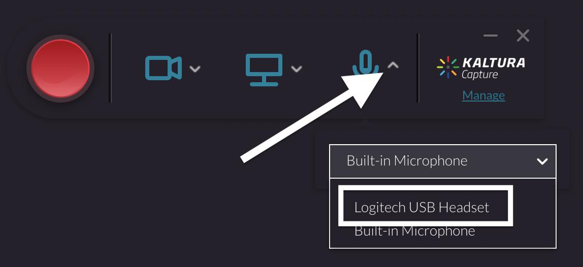 screenshot of selecting USB microphone