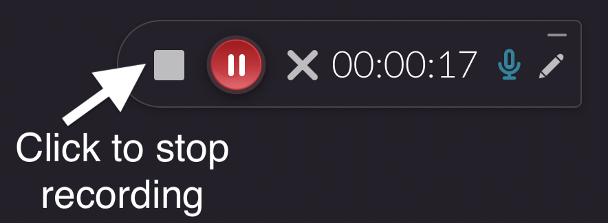screenshot of recording menu