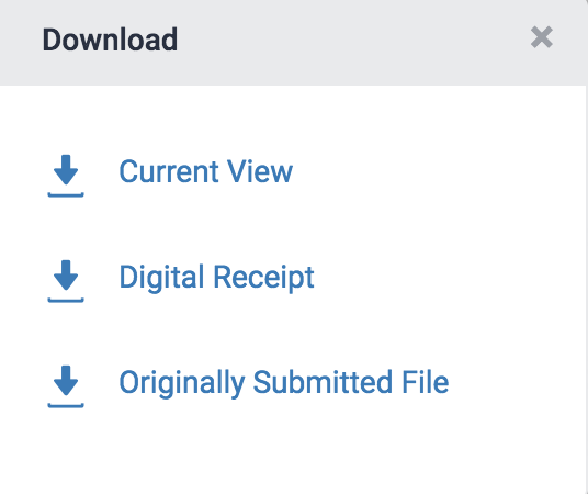 Download options panel in Turnitin