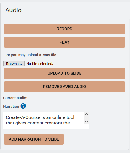 Adding audio narration to Create-A-Course : Support Hub
