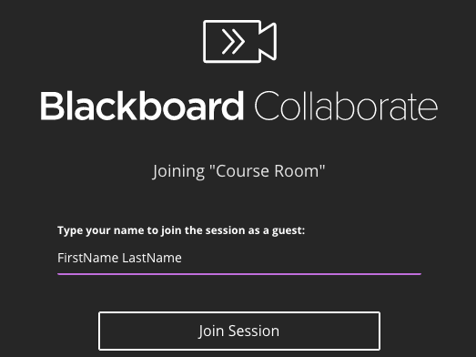 Screenshot of entering a Collaborate session. Enter your name to join the session