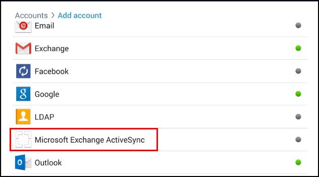 Add accounts screen