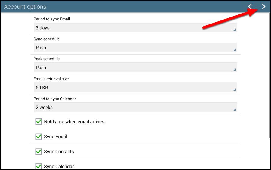Account options screen