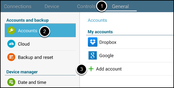 General menu with Accounts sub-menu showing
