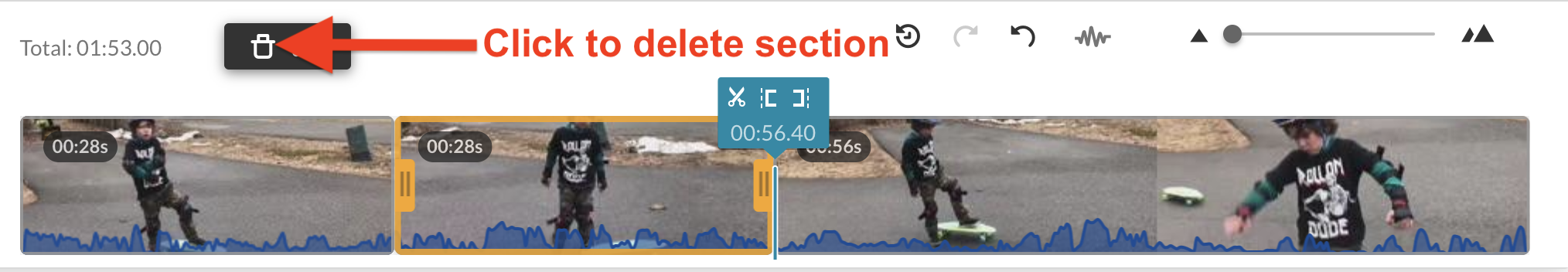 screenshot of deleting section