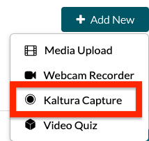 screenshot of Kaltura Capture button