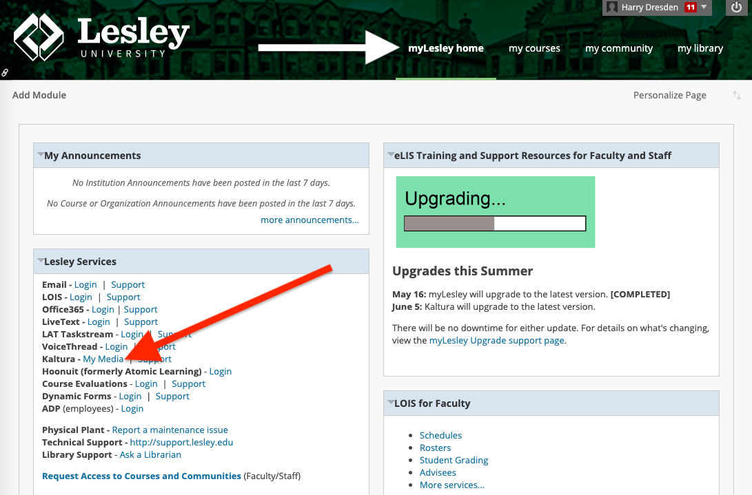 screenshot of accessing My Media from the myLesley Home tab
