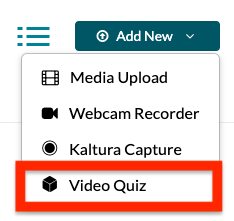 screenshot of video quiz button