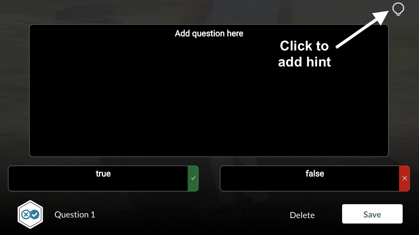 screenshot of adding true/false question