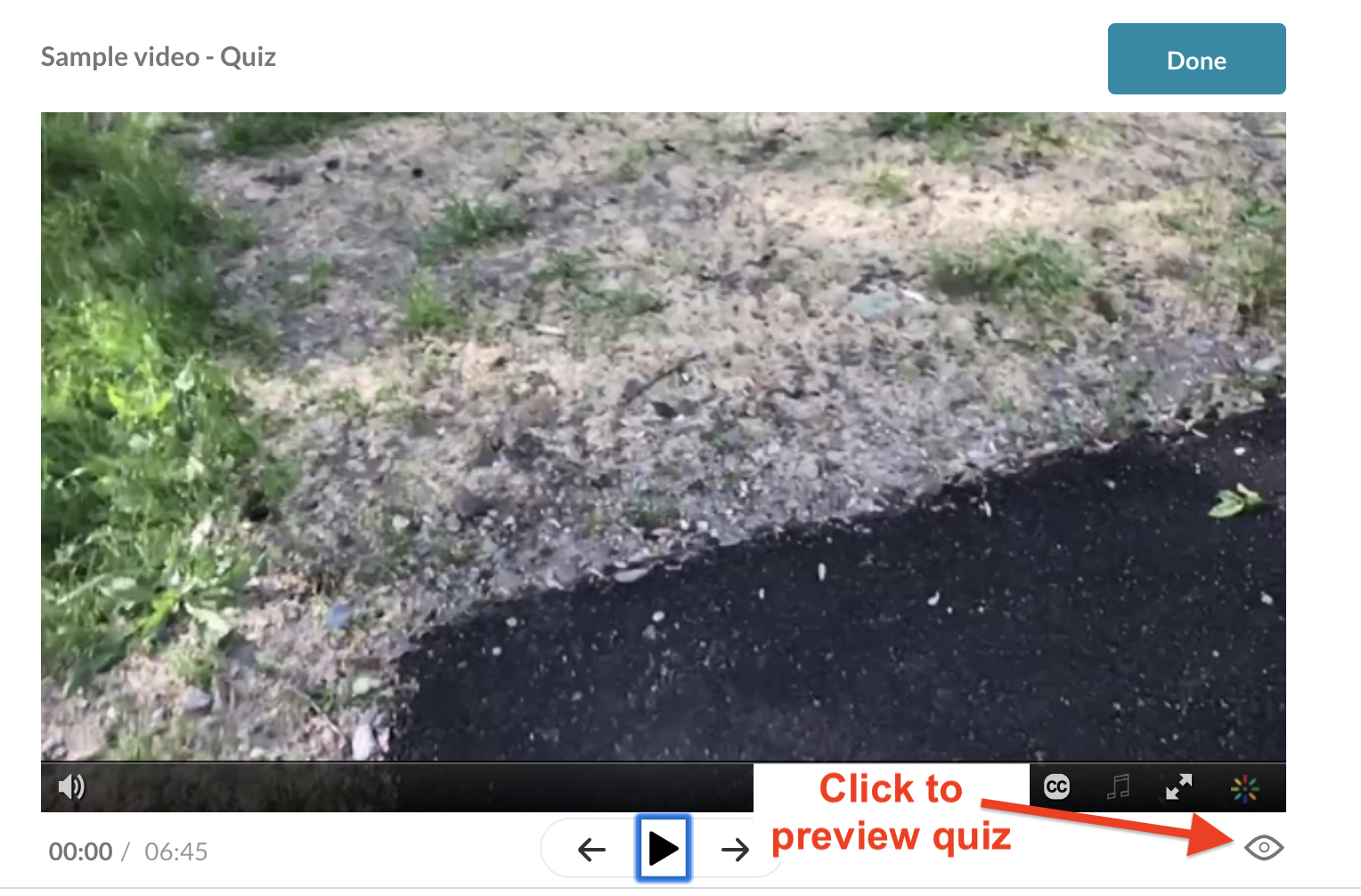 screenshot of video quiz with callout to preview button