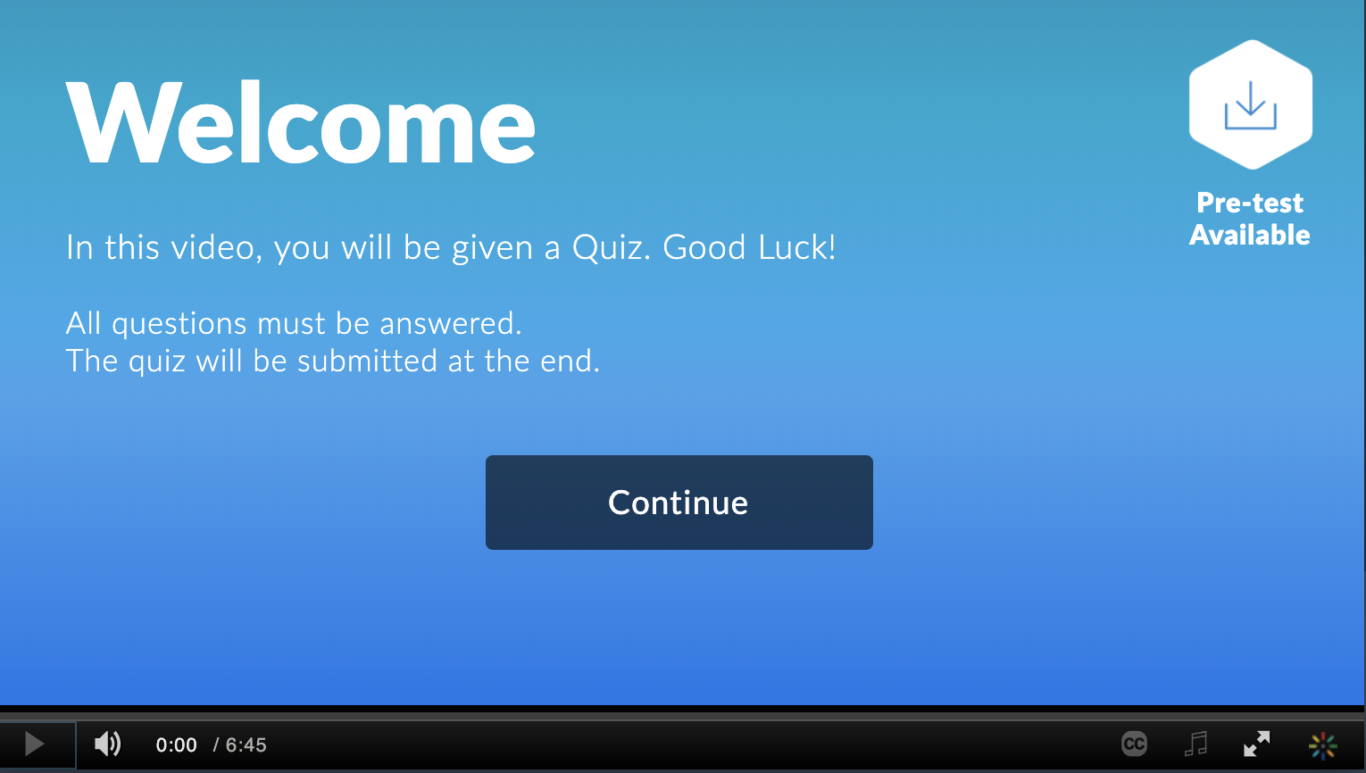 screenshot of video quiz preview