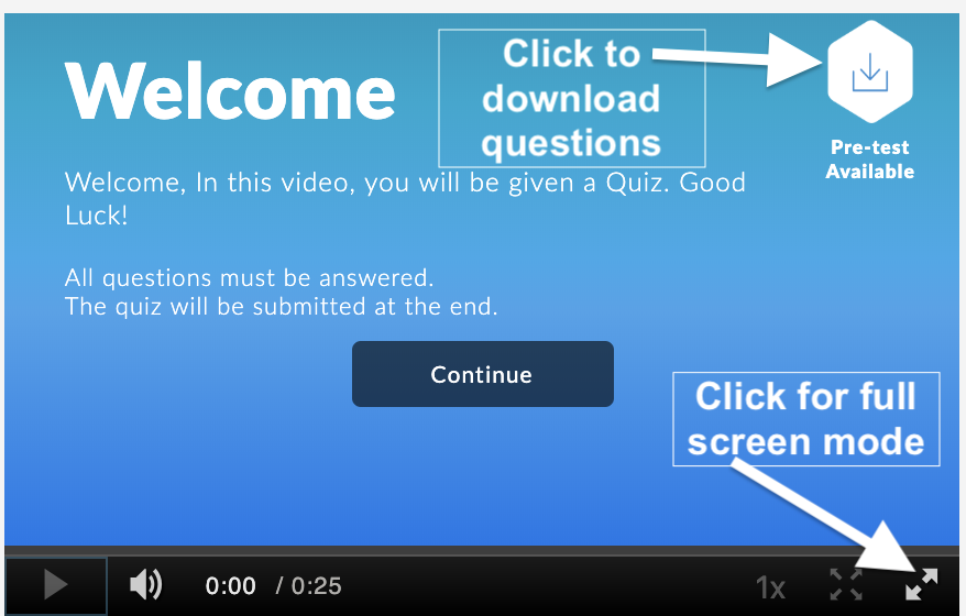 screenshot of video quiz welcome message