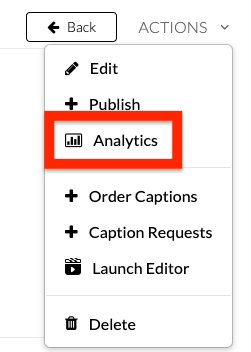 screenshot of analytics button
