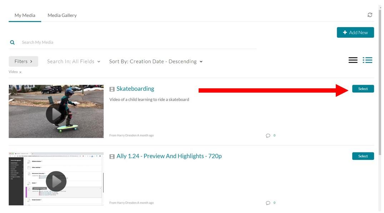 screenshot of selecting kaltura video