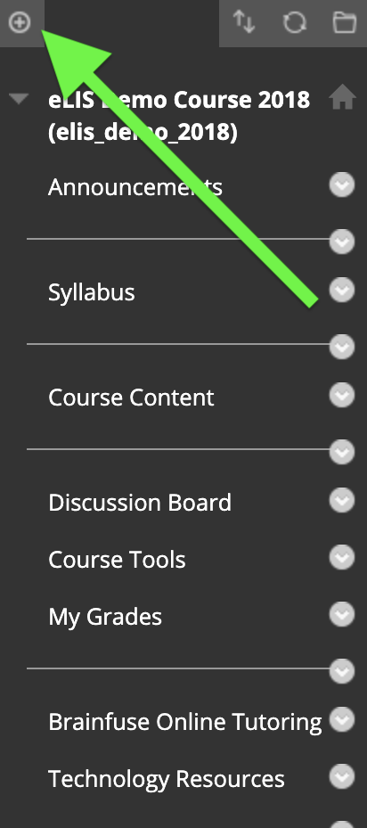 screenshot of add menu item button in course menu