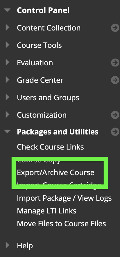 screenshot of export/archive course link
