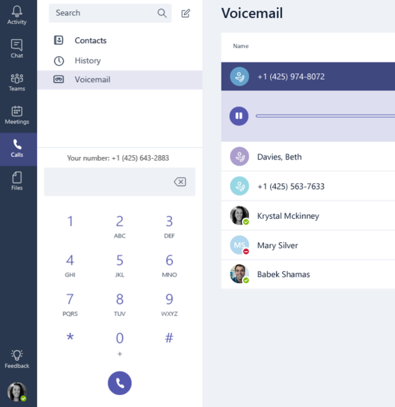 Calls screen with contacts, history voicemail, and dialpad