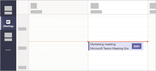 A meeting with a Join button in the Meetings app in Teams