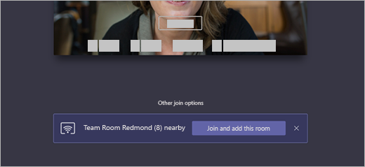 On the join screen, Other join options has a pop-up that Team Room Redmond is nearby with the option to Join and add this room