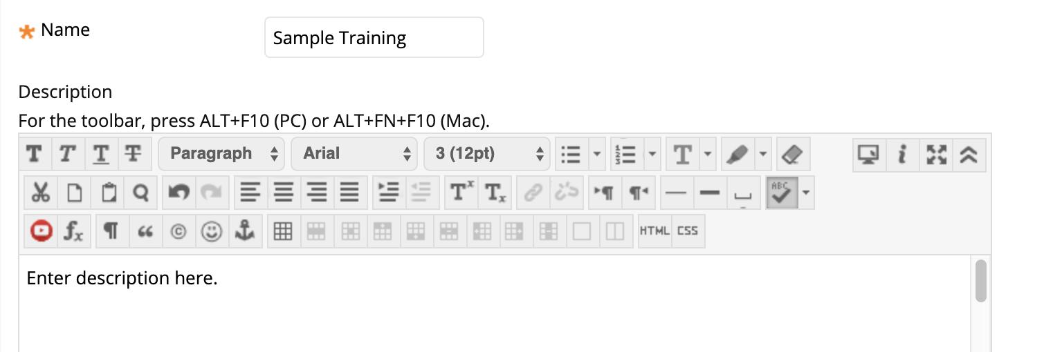 screenshot of item name