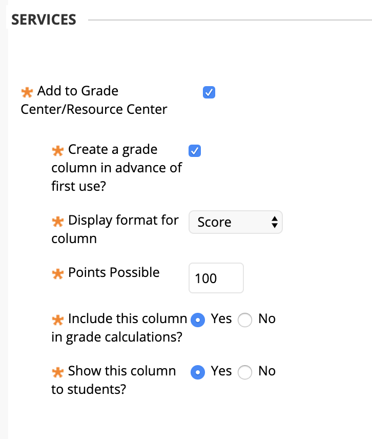 screenshot of services section