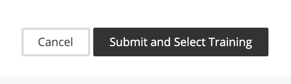 screenshot of submit and select training button