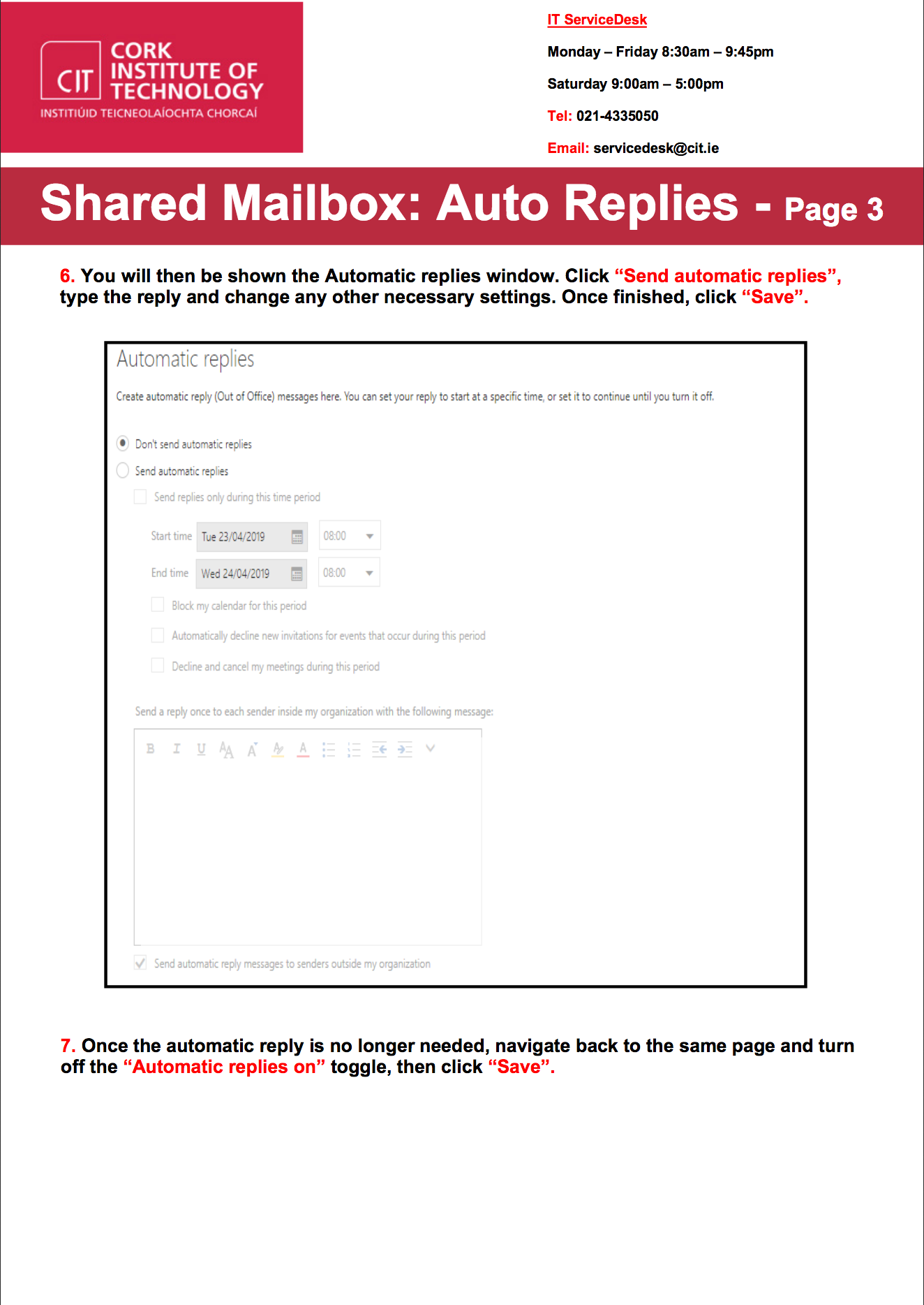 Shared Mailboxes - Automatic Replies (Old Outlook) : Cork Institute