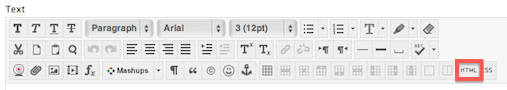 screenshot of text editor with HTML button highlighted