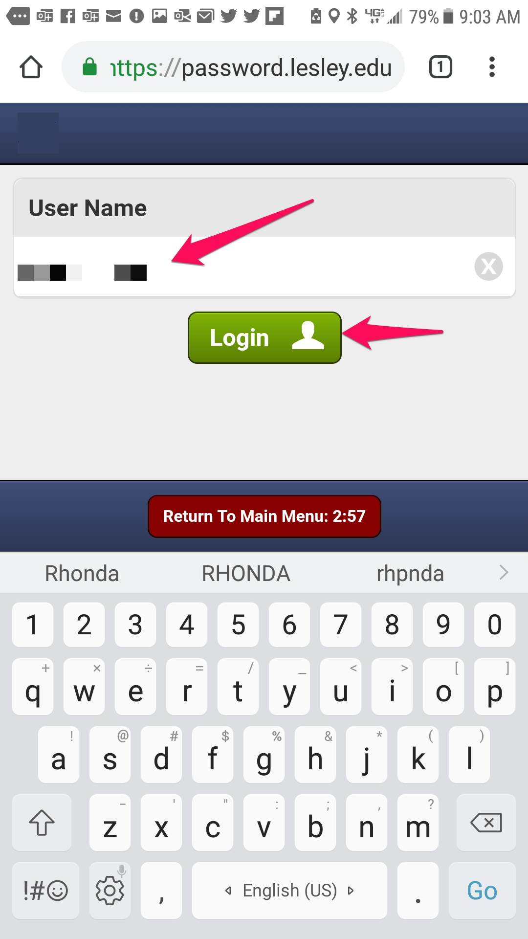 enter username and press login