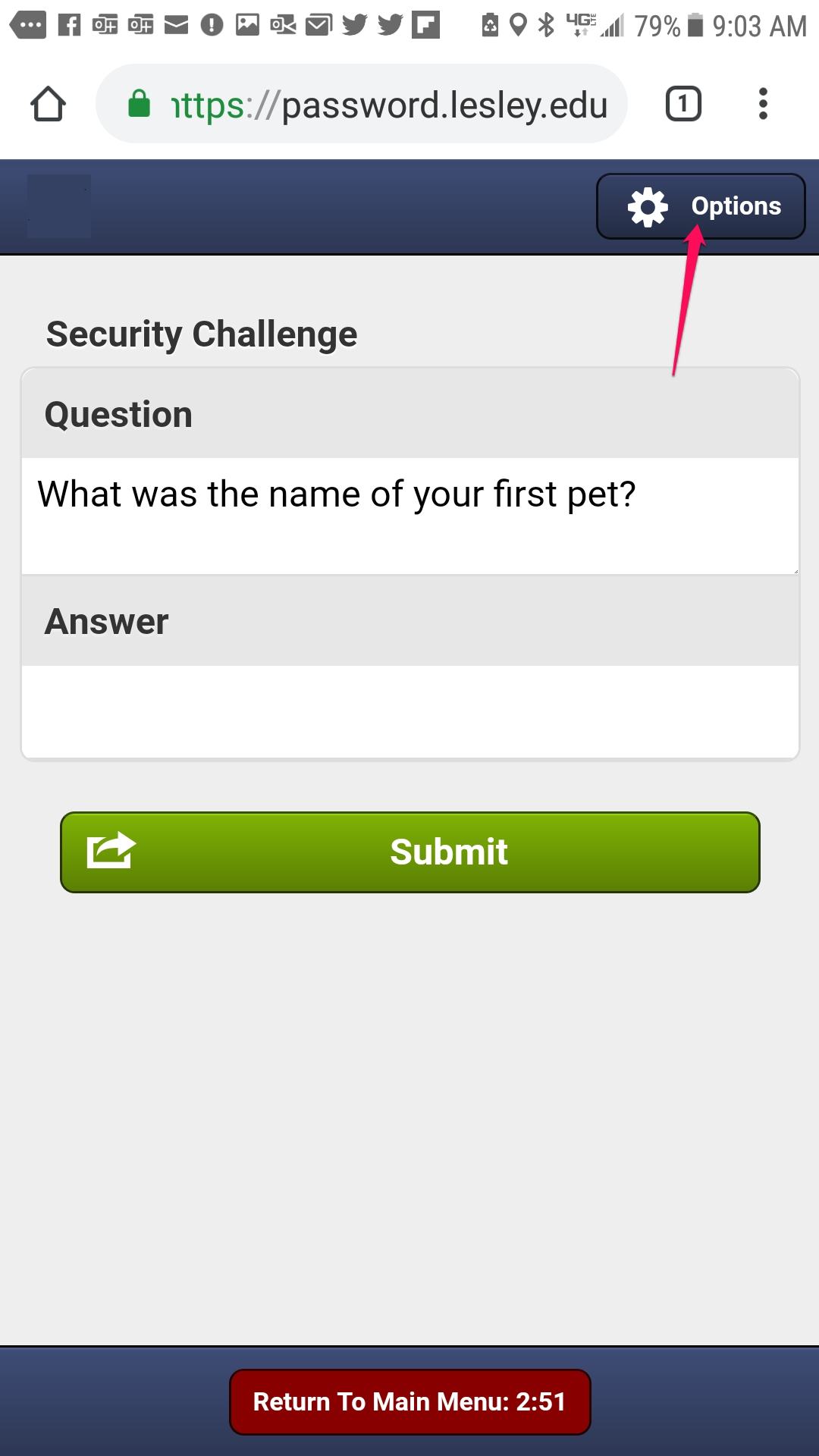 Security questions or Option button