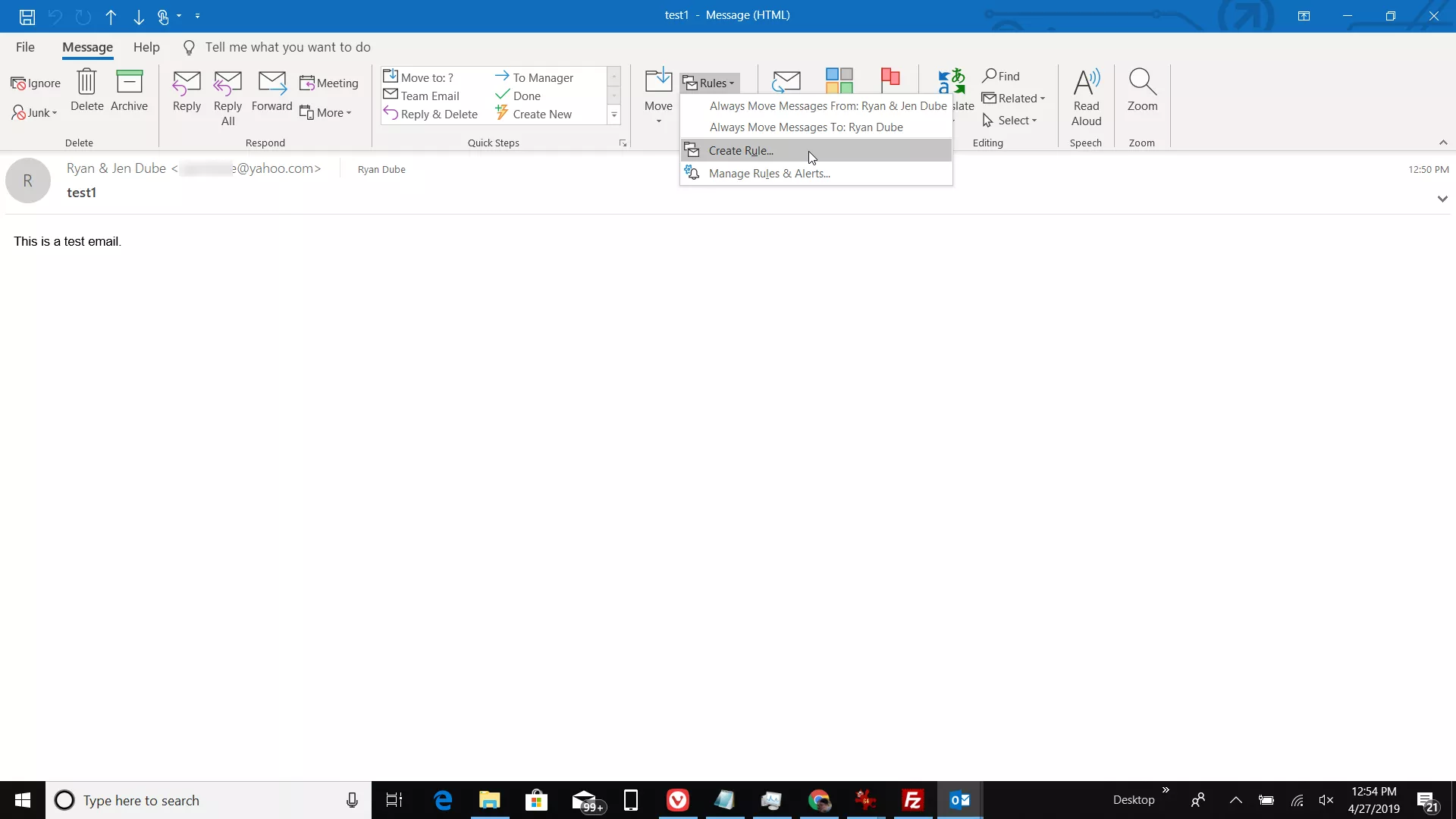 Screenshot of creating a rule in an email message in Outlook