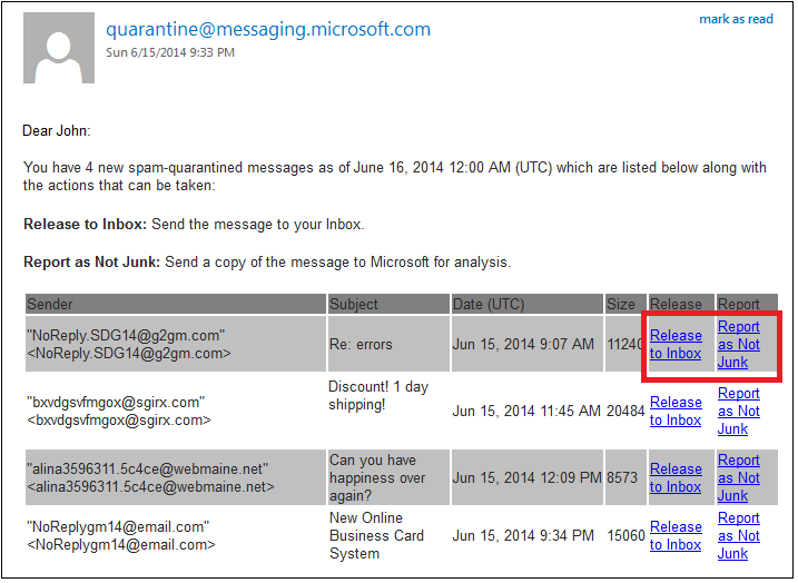 Microsoft quarantine spam email screenshot