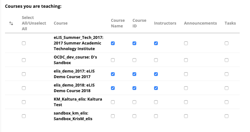 personalize course list options