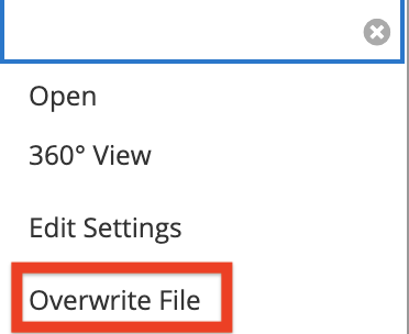 image of file menu with overwrite file selected
