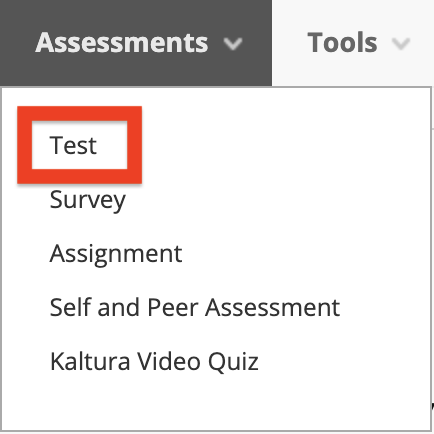 image of Assessments tab with Test selected
