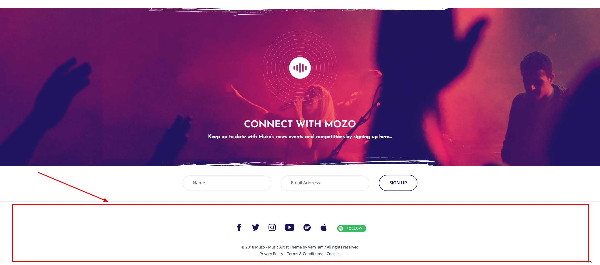 mozo music band wordpress theme how to edit the footer section