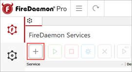 FireDaemon Pro New Service Button.