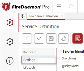 FireDaemon Pro Settings Menu