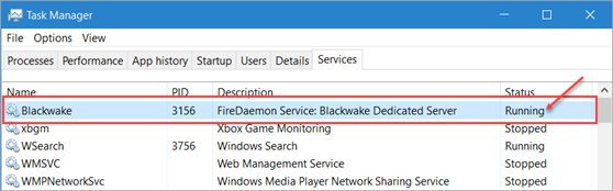 Task Manager Blackwake Service Running Status