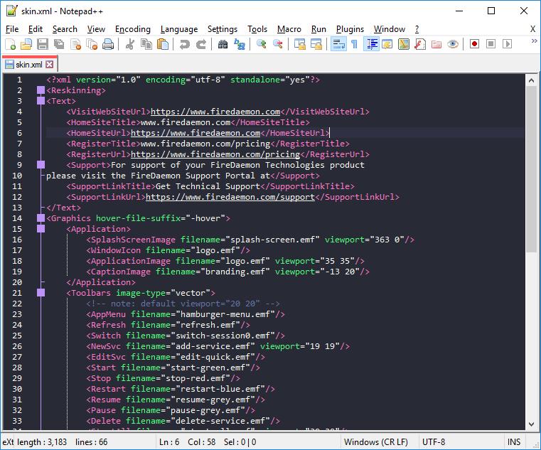 FireDaemon Pro Skin XML File