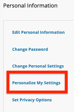 select personalize my settings