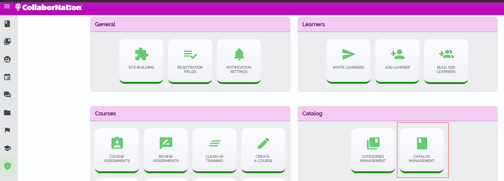 Access the Catalog Management page from the Admin Tools section.