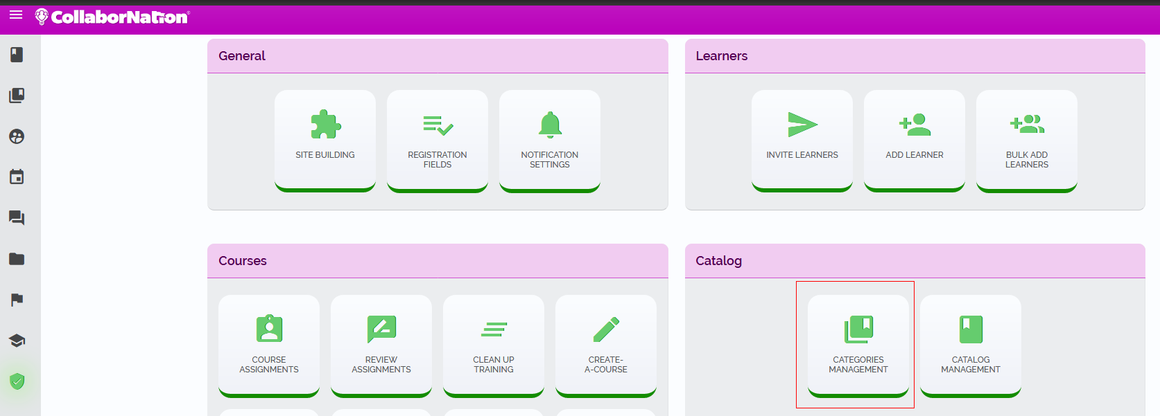 Access the Categories Management page from the Admin Tools section.